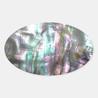 Abalonesnäcka Ovalt Klistermärke