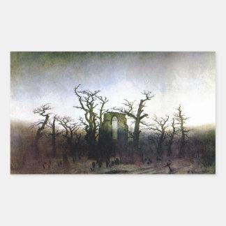 Abbey i en Oakskog av Caspar David Friedrich 1 Rektangulärt Klistermärke