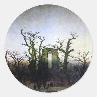 Abbey i en Oakskog av Caspar David Friedrich Runt Klistermärke
