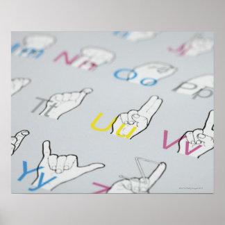 ABC av undertecknar språk Poster