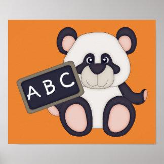 ABC skolar Pandaaffischen (orange bakgrund) Poster