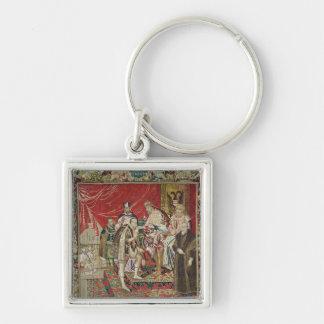 Abdikeringen av Charles V Fyrkantig Silverfärgad Nyckelring