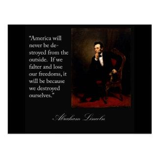 Abraham Lincoln citationstecken & porträtt Vykort