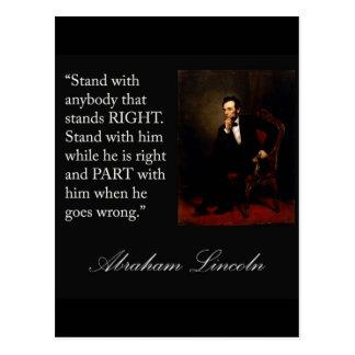 """Abraham Lincoln citationstecken """"stativ med vem Vykort"""