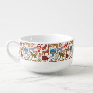 Abstrakt barn- och djurmönster kopp för soppa