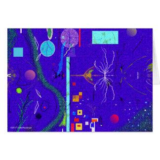 Abstrakt blått och blommasympatikort hälsningskort