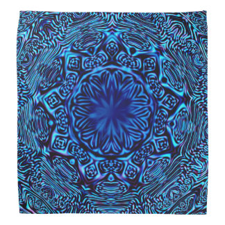 Abstrakt blåttblommaBandana Scarf