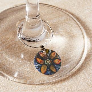 Abstrakt blomma berlock vinglas