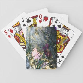 Abstrakt blomma i vatten spel kort