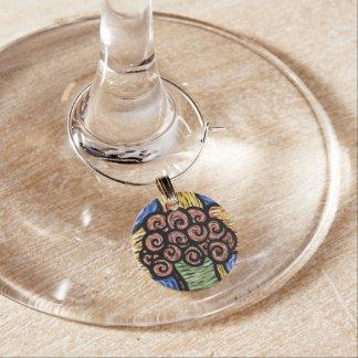 Abstrakt blommar ljusa färger berlock vinglas