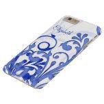 Abstrakt blommigt för blått och för vit barely there iPhone 6 plus skal