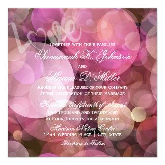 Abstrakt Bokeh rosa lilaKÄRLEK som gifta sig Fyrkantigt 13,3 Cm Inbjudningskort