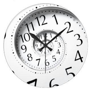 Abstrakt den dekorativa Time spiral oändligheten Stor Rund Klocka