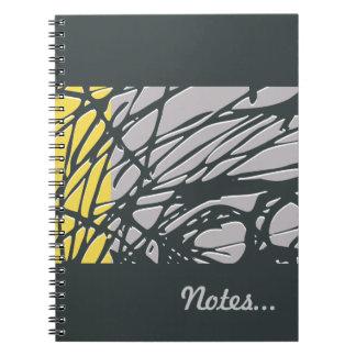 Abstrakt design i grått och gult anteckningsbok med spiral