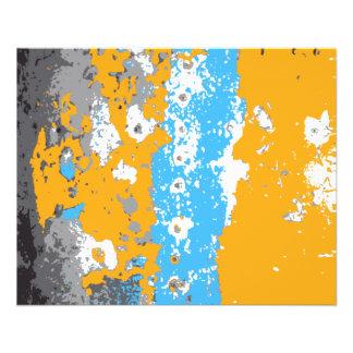 Abstrakt diagram för orange, för blått och för grå flygblad