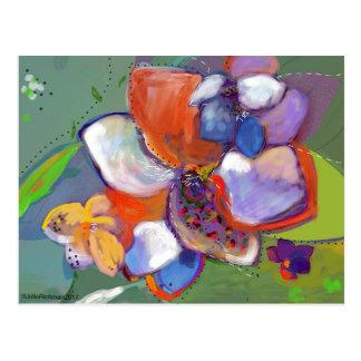 Abstrakt Digital blomma   vykort 5