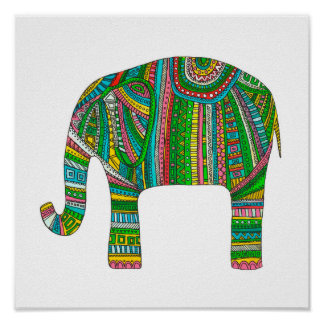 Abstrakt elefanttryck. Djur illustrationkonst Poster