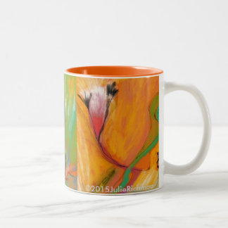 Abstrakt färgrik blom- MUGG Två-Tonad Mugg