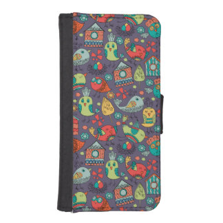 Abstrakt färgrik hand plockadeblommönsterdesign iPhone SE/5/5s plånbok