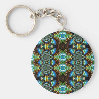 Abstrakt för blåttgröntbruntet kedjar mönster nyckel ring