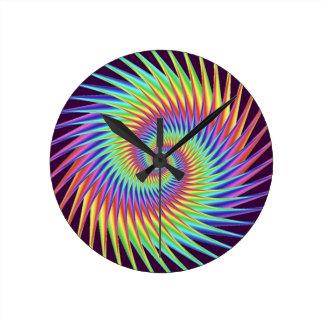Abstrakt för regnbåge för optisk illusion för rund klocka
