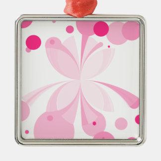 Abstrakt för rosafröjdfjärilen kvadrerar prydnaden julgransprydnad metall