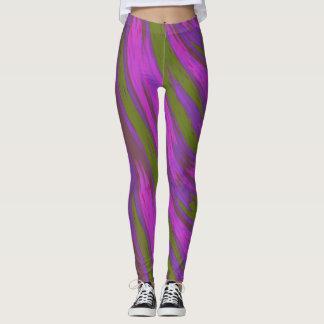 Abstrakt för Swish för lilagröntfärg Leggings