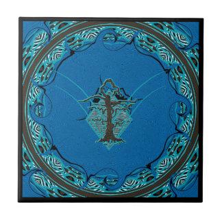 Abstrakt gammal vissen trädstil 4 för blått kakelplatta