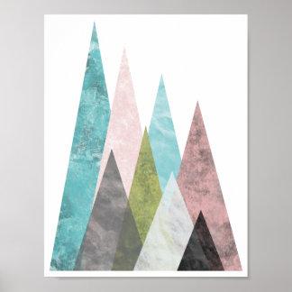 Abstrakt geometriska berg 2, turkos & rosor poster