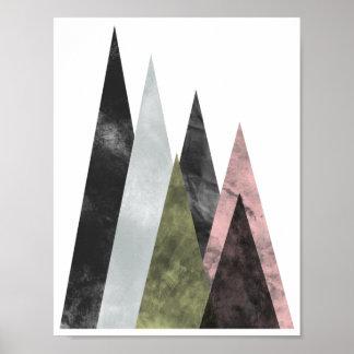 Abstrakt geometriska berg poster i rosor & guld