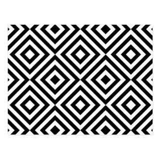 Abstrakt geometriskt kvadrerar mönster, svart vit vykort
