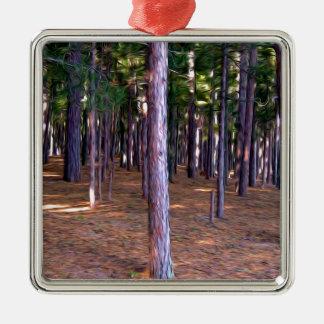 Abstrakt grästrädskog julgransprydnad metall