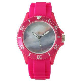 Abstrakt grått med rosa konst armbandsur