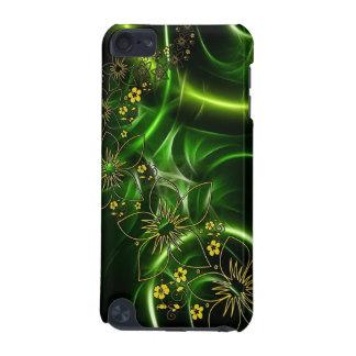 Abstrakt grön blom- design för svart och för iPod touch 5G fodral