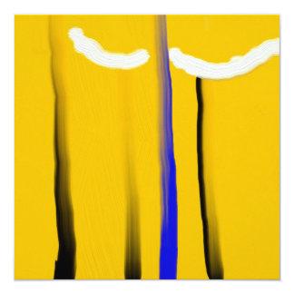 Abstrakt gul oljemålning för blåttsvartvit fyrkantigt 13,3 cm inbjudningskort
