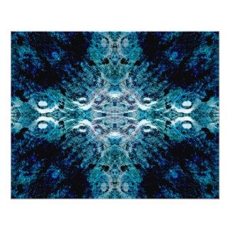 Abstrakt i blått och kricka. Några mjuka kanter Flygblad