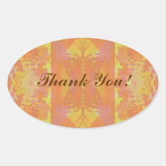 Abstrakt i orange och gult - tacka You@ Ovalt Klistermärke