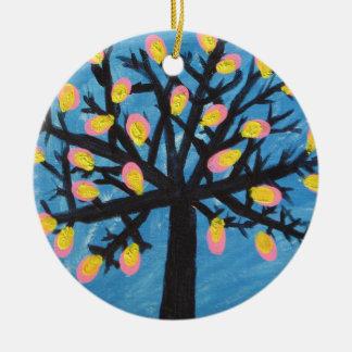 Abstrakt jul Orament för blommarträd Rund Julgransprydnad I Keramik