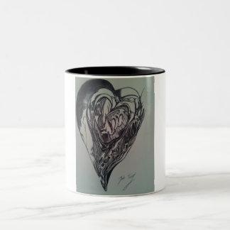 Abstrakt kärlekkaffemugg Två-Tonad mugg