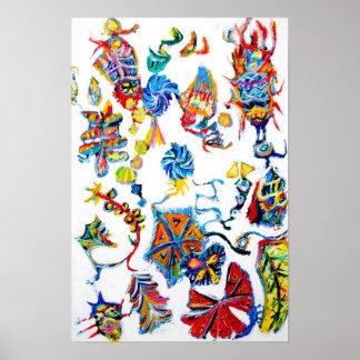 """Abstrakt kinesisk kalender "", Print"