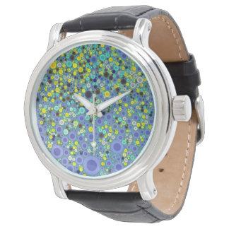 Abstrakt konst cirklar blått och gult armbandsur