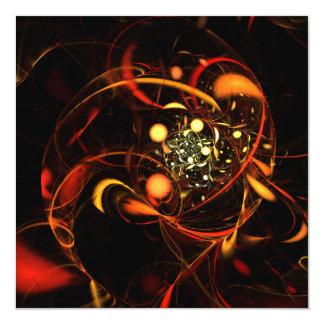 Abstrakt konst för hjärtslag fyrkantigt 13,3 cm inbjudningskort