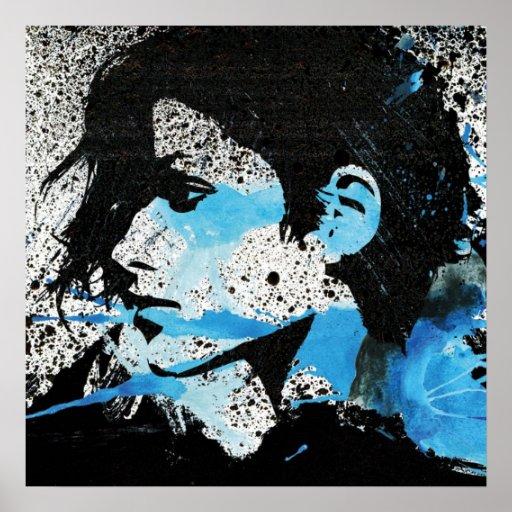Abstrakt konst för vattenfärg för flicka för blått posters