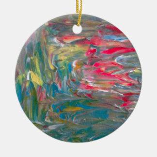 Abstrakt konst julgransprydnad keramik