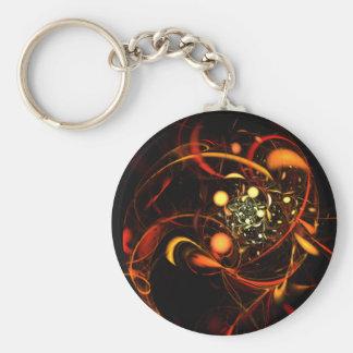 Abstrakt konst Keychain för hjärtslag Rund Nyckelring