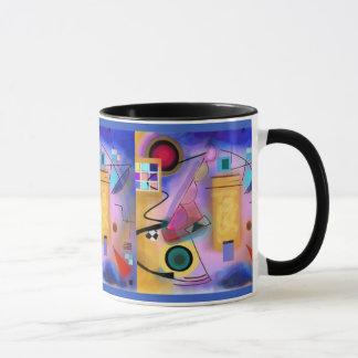 Abstrakt konst och Cubist inspirerad mugg