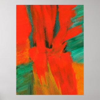 Abstrakt konst som målar rött orangegröntguld poster