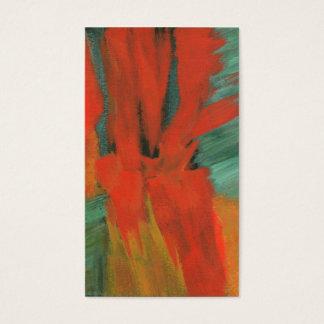 Abstrakt konst som målar rött orangegröntguld visitkort