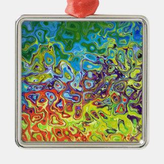 abstrakt konstnärlig färgrik design julgransprydnad metall