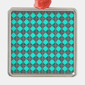 Abstrakt krickagråttQuatrefoil mönster Silverfärgad Fyrkantigt Julgransprydnad